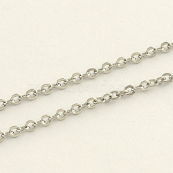304 Stainless Steel Cable Chains, Soldered, with Spool, Stainless Steel Color, 2.4x1.9x0.4mm; about 10m/roll