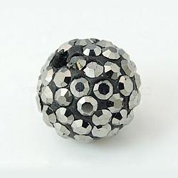 Grade A perles rondes une boule de disco pavent, Perles de strass en argile polymère, jet hématite, 10mm, Trou: 1.2~1.7mm(X-RB-H258-10MM-566)
