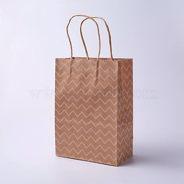 kraft Paper Bags, with Handles, Gift Bags, Shopping Bags, Brown Paper Bag, Rectangle, Wave Pattern, Camel, 21x15x8cm(CARB-E002-S-G04)