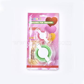 ABS Plastic Knitting Loom for Making Pom Pom, Floriation Tools, Pom Pom Maker, Mixed Color, 63x45x34mm; 86x63x51mm; 2pcs/set(X-TOOL-T006-29)