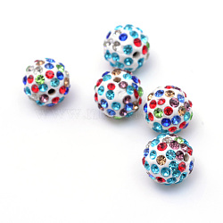 полимерная глина Pave горный хрусталь бисер, дискотечный шар бисер, красочный, С. 15 (2.1~2.2 мм), 6 ряды горный хрусталь; 12 мм, отверстия: 1.5 mm(X-RB-Q197-12mm-29)