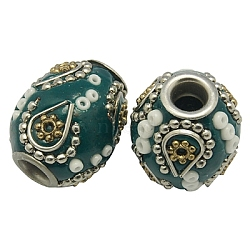 Handmade Indonesia Beads, with Brass Core, Tube, Green, Size: about 17mm wide, 20mm long, hole: 4.5mm.(X-CLAY-G027-3)