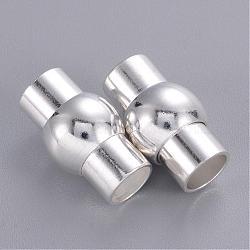 Fermoirs magnétiques argent lanterne en laiton de couleur, 17x10mm, Trou: 6mm(X-KK-G230-6mm-S)