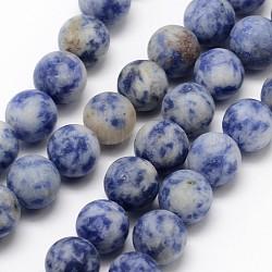 brins de perles rondes en jaspe de tache bleue naturelle, givré, arrondir, 8 mm, trou: 1 mm; environ 48 perle / brin, 15.1(G-D679-8mm)