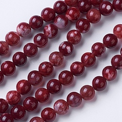 Natural Agate Beads Strands, Dyed & Heated, Grade A, Round, DarkRed, 8~8.5mm, Hole: 1.2mm; about 48pcs/strand, 15.1''(38.5cm)