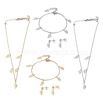 304 Stainless Steel Jewelry Sets, Cable Chains Pendant Necklaces & Stud Earrings & Bracelets, with Lobster Claw Clasps, Leaf, Mixed Color, 17.83 inches(45.3cm), 7.32 inches(18.6cm), 21mm, Pin: 0.7mm(SJEW-Z001-12)
