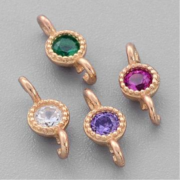 925 Sterling Silver Links, with Cubic Zirconia, Flat Round, Real 18K Gold Plated, 8x3x2mm, Hole: 1mm(STER-G011-46)