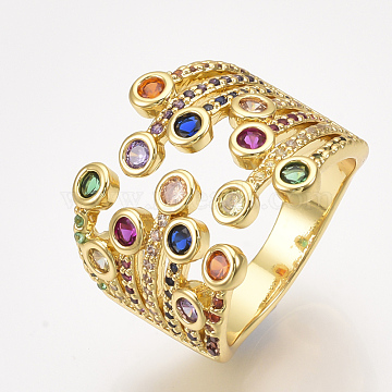Brass Micro Pave Cubic Zirconia Cuff Rings, Open Rings, Colorful, Size 7, 17.5mm(X-RJEW-S044-047)
