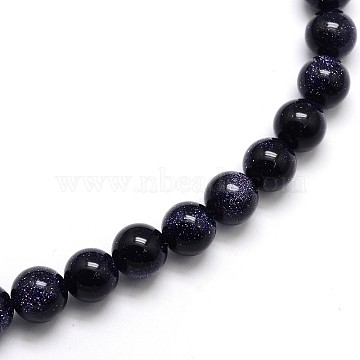 "Synthetic Blue Goldstone Round Beads Strands, 4mm, Hole: 1mm; about 97pcs/strand, 15.5""(X-G-O047-11-4mm)"