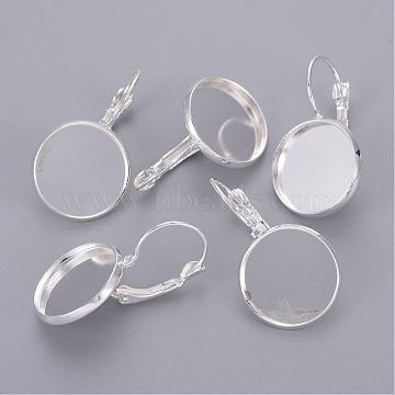 Silver Color Plated Brass Leverback Earring Findings, Lead Free and Cadmium Free, 25x18mm; Tray: 16mm(X-KK-C1244-16mm-S-RS)