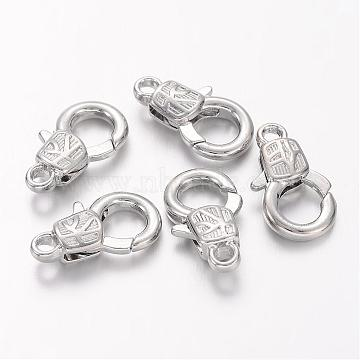 Platinum Plated Alloy Lobster Claw Clasps, Nickel Free, about 11mm wide, 17mm long, 4mm thick; hole: 2mm(X-KK334-NF)