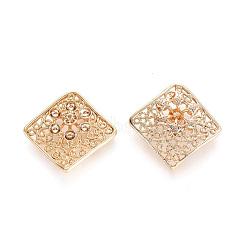 Brass Cabochon Settings, Rhombus, Real 18K Gold Plated, Tray: 2mm; Fit for 0.5mm Rhinestone; 23.5x24x4mm; Diagonal Length: 23.5mm; Side Length: 18mm(KK-G151-55G)