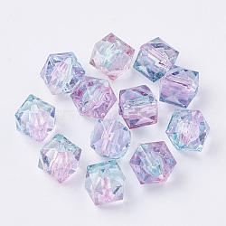 двухцветный прозрачный спрей, окрашенный акриловой бусиной, многоугольник, розовый, 7.5x8x8 mm, отверстия: 1.8 mm(X-ACRP-T005-26)