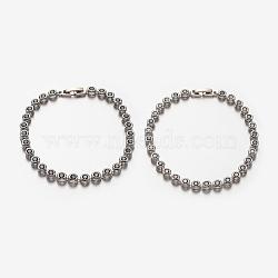 Bracelets de chaîne à maillons ronds plats à zircon cubique micro pavé pour femmes, avec platine plaqué montre en laiton fermoirs de bande, couleur mixte, 185mm(BJEW-E249-78)