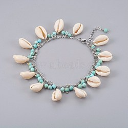 Cowrie Shell Anklets, with Natural Turquoise Beads and 304 Stainless Steel Findings, Seashell Color, 9-5/8 inches(24.5cm)(AJEW-AN00246)