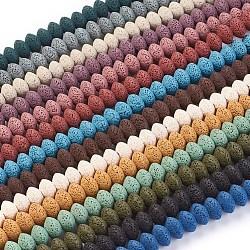 perles de lave naturelles, teints, rondelle, couleur mélangée, 15~16x9.5~9.7 mm, trou: 2.5 mm; environ 42 perle / brin, 15.15 15.55 cm)(G-I220-17B-M)