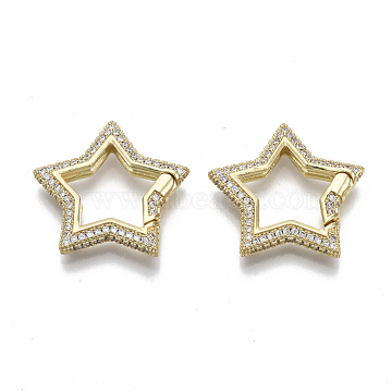 Brass Micro Pave Cubic Zirconia Spring Gate Rings, Nickel Free, Star, Real 16K Gold Plated, Clear, 24.5x26x4mm; Inner Diameter: 15x13mm(ZIRC-S066-033B-NF)