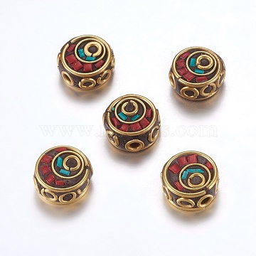 Handmade Indonesia Beads, with Brass Findings, Nickel Free, Flat Round, Raw(Unplated), Red, 12~13x6~7.5mm, Hole: 2mm(IPDL-F023-25A)