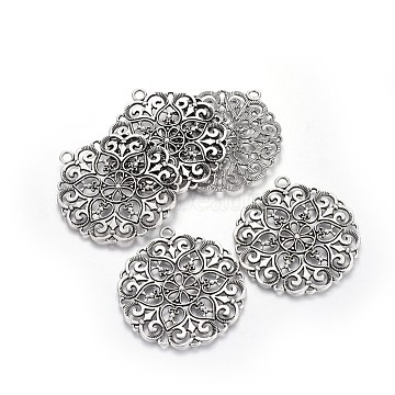Thai Sterling Silver Plated Flower Alloy Big Pendants