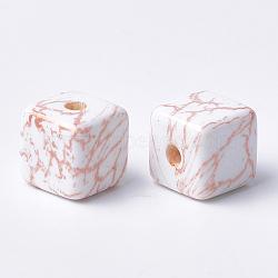 Perles acryliques imprimées, cube, peachpuff, 15x15x15mm, Trou: 3.5mm(MACR-T024-58B)