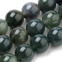 Natural Moss Agate Beads Strands, Round, 8mm, Hole: 1mm; about 47pcs/strand, 15.7inches