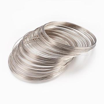 Steel Memory Wire,for Bracelet Making,Platinum,55mm,Wire: 0.6mm(22 Gauge),2500 circles/1000g(STAS-H021-P)