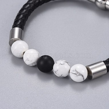 Woman's Braided Leather Cord Bracelets(BJEW-JB04253-01)-2