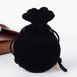 Sacs calebasse de velours, noir, 9.5x7.5 cm(TP-R005-01)