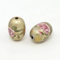 Flower Printed Spray Painted Acrylic Oval Beads, DarkKhaki, 19x14mm, Hole: 2mm(ACRP-O001-02A)