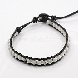 Bracelets de perles de pierre gemme de mode de la moelle, avec cordon en cuir et fermoirs en acier inoxydable, de couleur métal platine , howlite, 200x8mm(BJEW-J054-15)