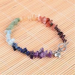 Puce de pierres précieuses bracelets de perles, fermoirs alliage à bascule et pendentifs coeur en alliage de style tibétain, 250mm(AJEW-AN00151)