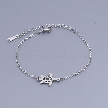 201 Stainless Steel Link Bracelets, with Lobster Claw Clasps, Tortoise, Stainless Steel Color, 6-5/8 inches~6-7/8 inches(16.95~17.5cm)(BJEW-T011-JN483-1)