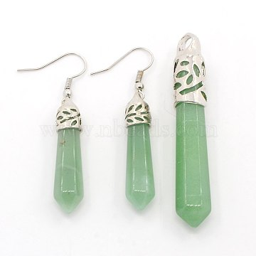 Bullet Gemstone Jewelry Sets Earrings and Pointed Pendants, with Alloy Findings, Green Aventurine, 34x7x7mm, Pin: 0.8mm, 63~68x10~12x12mm, Hole: 4mm(SJEW-D023-04)