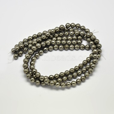 Natural Pyrite Round Beads Strands(G-F197-07-10mm)-3