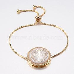 """Bracelets réglables de bolo de coquille de zircone cubique en laiton de pave réglable, Bracelets coulissants, avec des chaînes de boîte en laiton, plat rond avec la médaille de saint bénédict, blanc, or, 10-1/4"""" (260 mm); 1.2mm(BJEW-H557-09G)"""