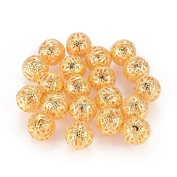 Iron Filigree Beads, Round, Golden Color, 10mm, Hole: 1mm(X-ZX-E002Y-G)