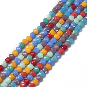 Glass Beads Strands, Faceted, Flat Round, Mixed Color, 6x4mm, Hole: 1.2mm; about 100pcs/Strand, 22 inches(53.5cm)(EGLA-J149-B13)