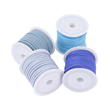 3mm Faux Suede Cord, Faux Suede Lace, Mixed Color, 3x1.5mm, about 5.46 yards(5m)/roll, 4rolls/set(LW-JP0003-21)