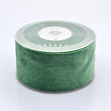 Polyester Velvet Ribbon for Gift Packing and Festival Decoration, Green, 2 inches(50mm), about 20yards/roll(18.29m/roll)(SRIB-M001-50mm-587)