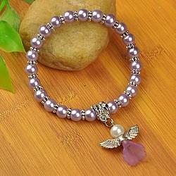 Bracelets d'ange belle avec robe de mariée pour les enfants, bracelets carnaval extensibles, avec verre perles de nacre et de perles de style tibétain, lilas, 45mm(BJEW-JB00727-09)