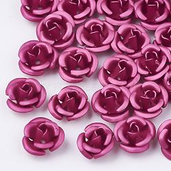Perles en aluminium, givré, plaqué longue durée, 3 fleur -petal, rose foncé, 6x4.5 mm, trou: 0.8 mm(X-FALUM-T001-02A-25)
