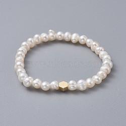 """Bracelets enfants extensibles, avec des perles en laiton, grade a perles d'eau douce naturelles et sacs d'emballage en toile de jute sacs à cordon, hexagone, blanc, 1-3/4"""" (4.5 cm)(BJEW-JB04622-03)"""