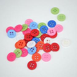 Boutons de couture à plat de 4 trous , bouton de résine, couleur mixte, 11mm, Trou: 1.5mm(X-FNA14TY)