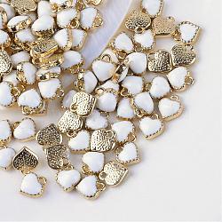 Alliage de coeur breloques d'émail, blanc, 8x7.5x2.5mm, Trou: 1.5mm(X-ENAM-Q033-51B)