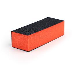 Bloc tampon de lime à ongles pour ponçage à quatre côtés, outils de vernis à ongles uv, cuboïde, noir et orange, 9.5x3.5x2.5 cm(MRMJ-F001-35)