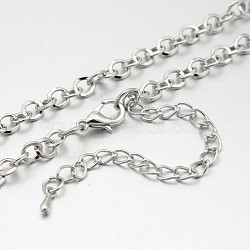 Iron Round Link Chain Necklace Making, with Alloy Lobster Claw Clasps and Iron Extender Chains, Platinum, 29.9 inches(MAK-J004-16P)