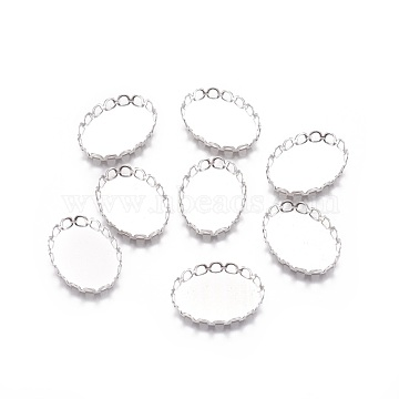 316 Surgical Stainless Steel Lace Edge Bezel Cups, Cabochon Settings, Oval, Stainless Steel Color, Tray: 18x13mm, 19x14x2.5mm(X-STAS-I118-06P-01)