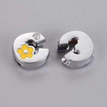 Alloy Rhinestone Slide Charms, with Enamel, Letter.C with Yellow Flower, Platinum Metal Color, 10x11x5mm, Hole: 2x8mm(X-ALRI-F003-04C)