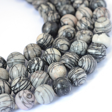 Natural Black Silk Stone/Netstone Round Bead Strands, 6~6.5mm, Hole: 1mm; about 63pcs/strand, 15.5inches(X-G-E334-6mm-05)