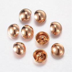 Boutons en alliage, 1-trou, dôme / demi-rond, or clair, 15x10mm, Trou: 1.5mm(BUTT-D054-15mm-06KCG)